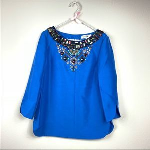 Tibi New York blouse 8 blue Jeweled neck silk